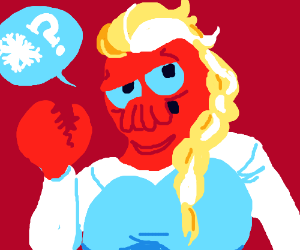 Zoidberg dressed as Frozen's Elsa (i think...)