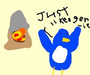 Blue penguin saying: Just like a genie!