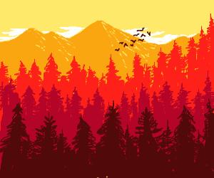A serene mountain landscape