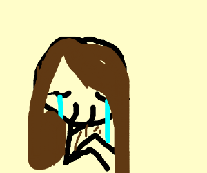 crying girl with brown hair