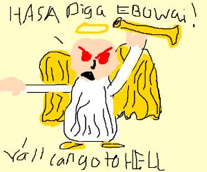 a very angry angel