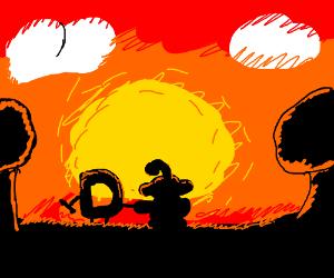 drawception and reddit admiring a sunset
