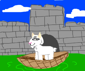 a goat on a boat in a moat drawception