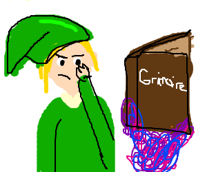 Link from Zelda ponders over a grimoire