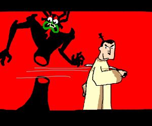 Samurai Jack kills Aku by cutting him in half.