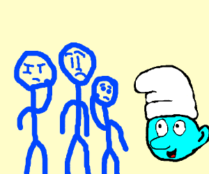The Blue Man Group meets a Smurf