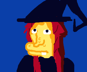 witch with a blue hat and red hair
