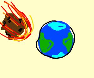 Asteroid crashing to earth