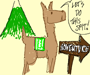 Llama starts a adventure