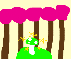 mushroom(green) in a pink forest
