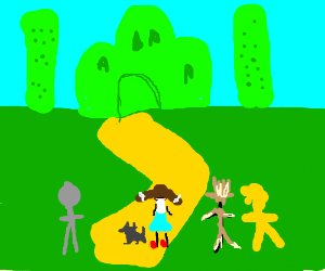Dorthy and friends approach the emerald city