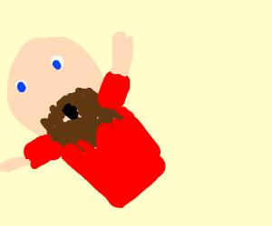 Astonished bald man with beard