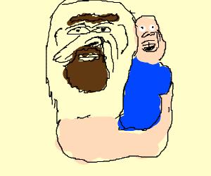 Bearded hand puppet