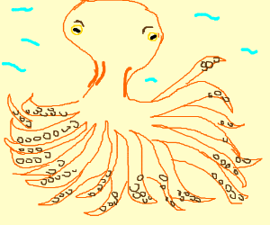 deformed octopus with 20 legs