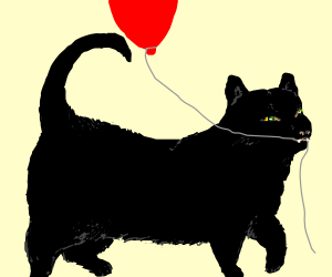 a black cat with balloon