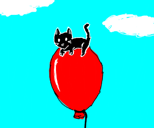 Black kitten with a red balloon