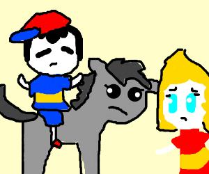 Sad horse sad kid on horse sad girl