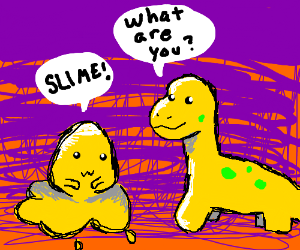 yellow dinosaur stares at yellow slime monster