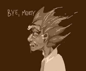 rick is pixlating away tothe void: Bye, Morty