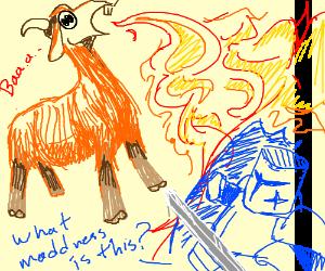 Firebreathing Goat vs Knight