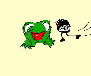 A frog eats a fly, and the other one kiks him