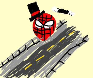Spider-Man the magician crawls on sidewalk