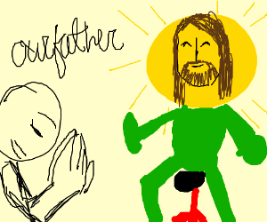 Guy prays to meme-jesus sun