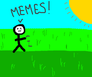 Man screaming about memes on a sunny day