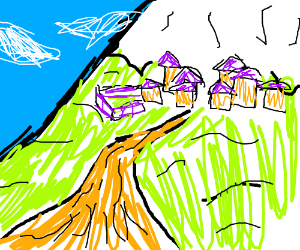 A mountain village.