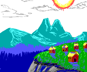 mountain village with reed roof