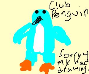bright blue peguin. club penguin