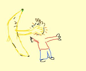 banana slapping human in the face