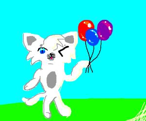 Winking cat holding balloons