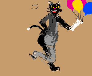 Kitty with balloons walking on two feet winks.
