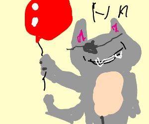 evil cat steals balloons