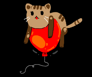 Kitty on top of balloon