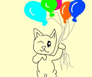Cat floats on balloon