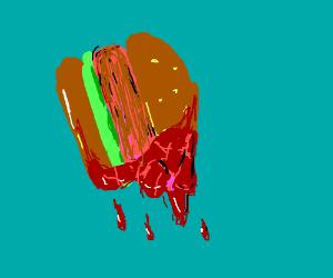 Hamburger dripping with BLOOD