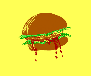 Painting a bleeding burger