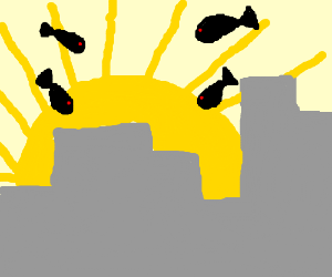 Shadow fish observe the city at sunset