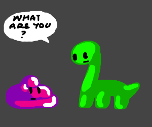 Dinosaur asks slime what it is