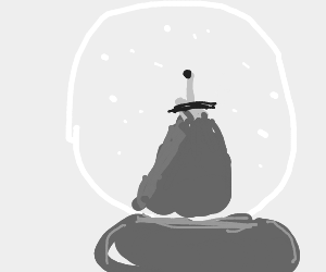 The sword in the stone in the snow globe