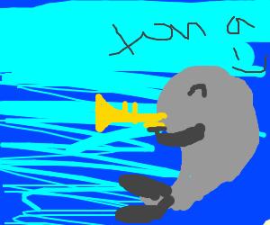 Tuna playing a trumpet