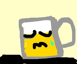 A crying beer mug