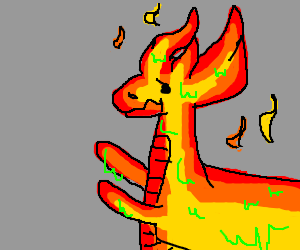 Dragon with fiery head and sticky his arms out