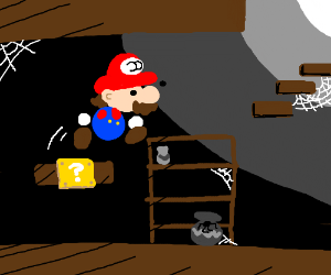 Mario platforms to get out of his basement