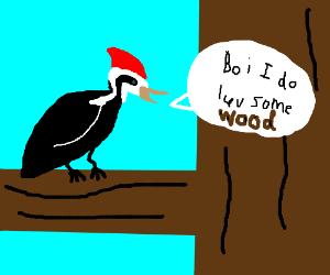 "Woodpecker says ""Boi do i luv some wood"""