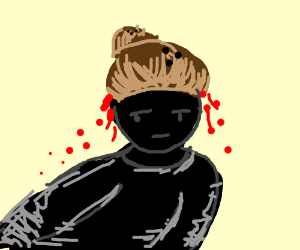 a guy with coconuts and blood on the head