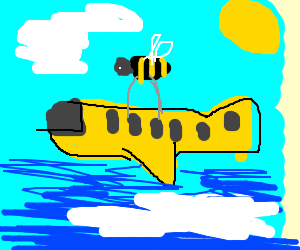 bee carrying an airplane
