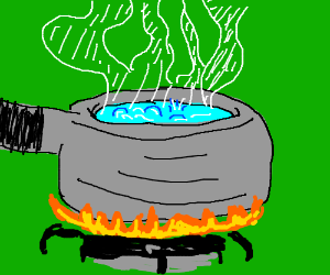 fresh pot of scalding water